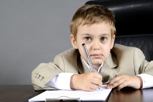 Boy in business suit