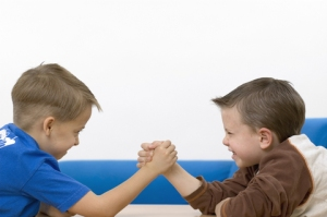 Boys arm wrestling