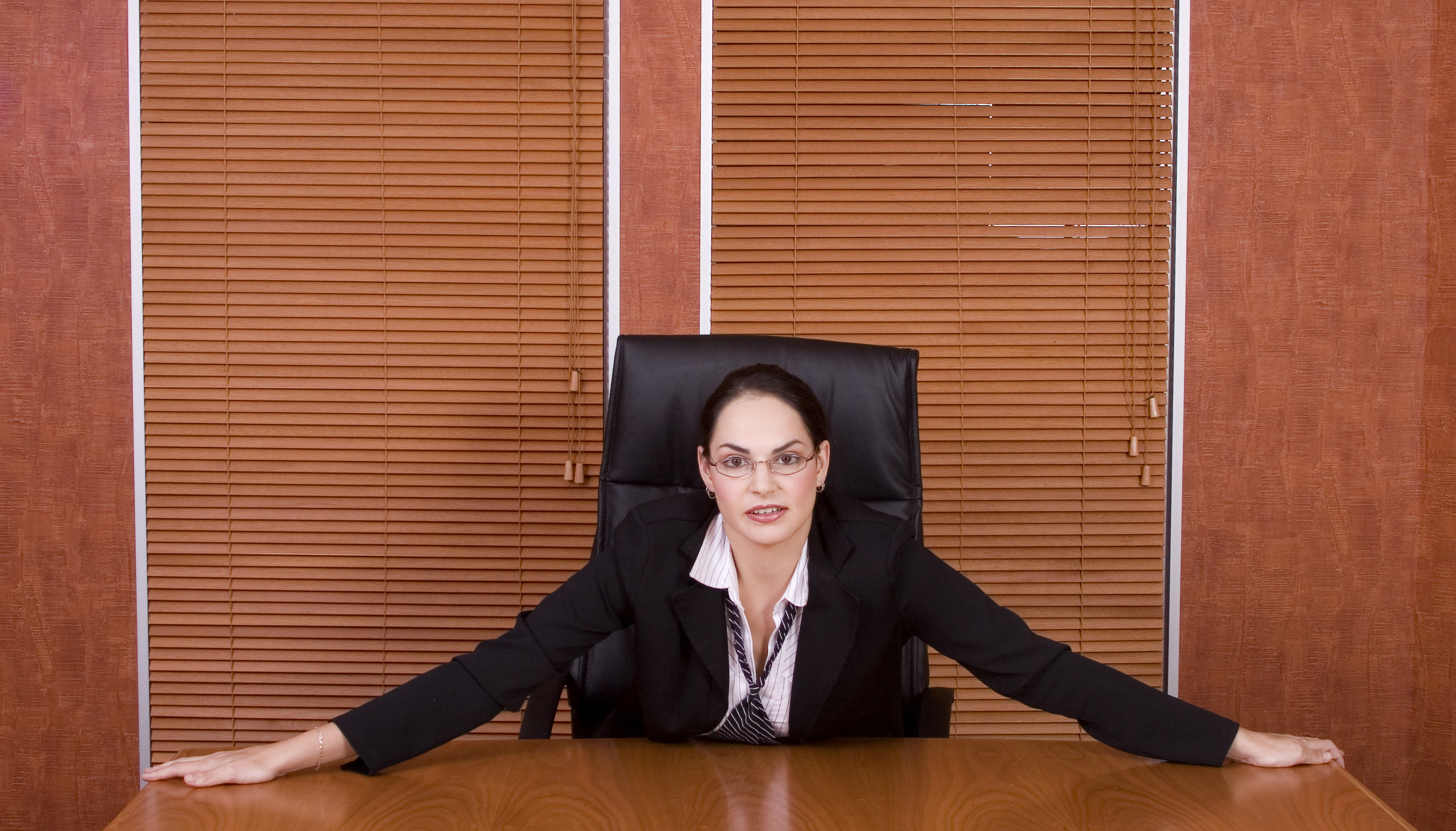 Business woman holding table